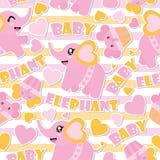 Άνευ ραφής σχέδιο του χαριτωμένου ελέφαντα μωρών και cupcakes στη ριγωτή απεικόνιση κινούμενων σχεδίων υποβάθρου για το ντους μωρ Στοκ Εικόνες