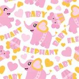 Άνευ ραφής σχέδιο του χαριτωμένων ελέφαντα μωρών και cupcakes της απεικόνισης κινούμενων σχεδίων για το τυλίγοντας έγγραφο ντους  Στοκ Εικόνες
