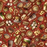 Άνευ ραφής σχέδιο τροφίμων κινούμενων σχεδίων χαριτωμένο συρμένο χέρι ιταλικό Στοκ φωτογραφία με δικαίωμα ελεύθερης χρήσης