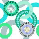 Άνευ ραφής σχέδιο των δαχτυλιδιών και των λουλουδιών στα χρώματα κρητιδογραφιών σε ένα ελαφρύ υπόβαθρο διανυσματική απεικόνιση