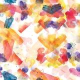 Άνευ ραφής σχέδιο των ζωηρόχρωμων κτυπημάτων watercolor Στοκ Εικόνες