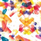 Άνευ ραφής σχέδιο των ζωηρόχρωμων κτυπημάτων watercolor Στοκ φωτογραφία με δικαίωμα ελεύθερης χρήσης