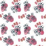 Άνευ ραφής σχέδιο των ιχνών σκυλιών επιτόπου ρόδινα η διακοσμητική εικόνα απεικόνισης πετάγματος ραμφών το κομμάτι εγγράφου της κ ελεύθερη απεικόνιση δικαιώματος