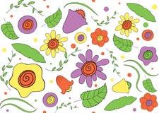 Άνευ ραφής σχέδιο των λουλουδιών και του φυλλώματος διανυσματική απεικόνιση