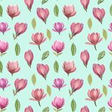 Άνευ ραφής σχέδιο των λουλουδιών και φύλλα του magnolia ελεύθερη απεικόνιση δικαιώματος