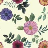 Άνευ ραφής σχέδιο των λουλουδιών και των φύλλων σε ένα πράσινο υπόβαθρο απεικόνιση αποθεμάτων