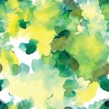 Άνευ ραφής σχέδιο των πράσινων και κίτρινων λεκέδων watercolor στο άσπρο υπόβαθρο Στοκ εικόνες με δικαίωμα ελεύθερης χρήσης