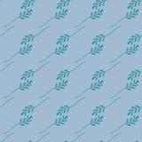 Άνευ ραφής σχέδιο των πράσινων φύλλων σε ένα μπλε υπόβαθρο Διανυσματικό αρχείο ελεύθερη απεικόνιση δικαιώματος