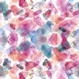 Άνευ ραφής σχέδιο των ρόδινων, μπλε και πορφυρών λεκέδων watercolor για το υπόβαθρο Στοκ Φωτογραφία