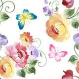 Άνευ ραφής σχέδιο των τριαντάφυλλων και των πεταλούδων υψηλό watercolor ποιοτικής ανίχνευσης ζωγραφικής διορθώσεων πλίθας photosh Στοκ Φωτογραφία