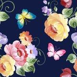 Άνευ ραφής σχέδιο των τριαντάφυλλων και των πεταλούδων υψηλό watercolor ποιοτικής ανίχνευσης ζωγραφικής διορθώσεων πλίθας photosh Στοκ Εικόνες