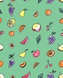 Άνευ ραφής σχέδιο των φρούτων: αχλάδι, Apple, πορτοκάλι, κινεζική γλώσσα, σταφύλια, κεράσια σε ένα πράσινο υπόβαθρο Στοκ Εικόνα