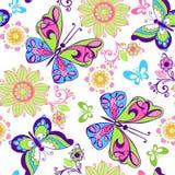 Άνευ ραφής σχέδιο των φωτεινών πεταλούδων και των λουλουδιών Διακοσμητικό ο Στοκ εικόνα με δικαίωμα ελεύθερης χρήσης
