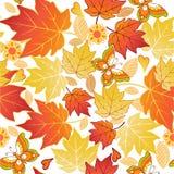 Άνευ ραφής σχέδιο των φύλλων και των πεταλούδων φθινοπώρου Διανυσματικό Illust Στοκ Φωτογραφία