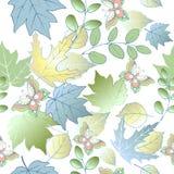 Άνευ ραφής σχέδιο των φύλλων και των πεταλούδων φθινοπώρου Μπλε φύλλα Στοκ εικόνα με δικαίωμα ελεύθερης χρήσης