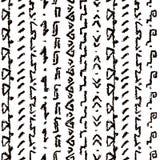 Άνευ ραφής σχέδιο υφάσματος σχεδίων χεριών boho άσπρο και μαύρο εθνικό διανυσματική απεικόνιση