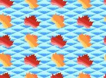 Άνευ ραφής σχέδιο φθινοπώρου με τα φύλλα και ουρανός που αποτελείται από τα κόκκινα, κίτρινα και μπλε τρίγωνα Απεικόνιση αποθεμάτων