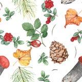 Άνευ ραφής σχέδιο φθινοπώρου με το δασικό θέμα 2 Απεικόνιση Watercolor, χέρι-σχεδιασμός στοκ εικόνες