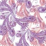Άνευ ραφής σχέδιο φτερών στο ασιατικό ύφος στα χρώματα κρητιδογραφιών de Στοκ Εικόνα