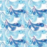 Άνευ ραφής σχέδιο φτερών στο ασιατικό ύφος στα χρώματα κρητιδογραφιών de Στοκ Φωτογραφίες