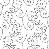 Άνευ ραφής σχέδιο φύλλων και αμπέλων λουλουδιών Doted σε γραπτό, διάνυσμα ελεύθερη απεικόνιση δικαιώματος