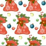 Άνευ ραφής σχέδιο Χαρούμενα Χριστούγεννας με τα σύμβολα διακοπών Στοκ Φωτογραφία