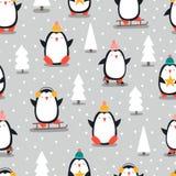 Άνευ ραφής σχέδιο Χαρούμενα Χριστούγεννας με τα penguins, μέσα στοκ εικόνα με δικαίωμα ελεύθερης χρήσης