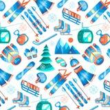 Άνευ ραφής σχέδιο χειμερινού αθλητισμού με τα επίπεδα εικονίδια εξοπλισμού ελεύθερη απεικόνιση δικαιώματος