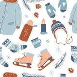 Άνευ ραφής σχέδιο χειμερινών δραστηριοτήτων απεικόνιση αποθεμάτων