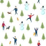 Άνευ ραφής σχέδιο χειμερινών πάρκων Διανυσματικοί περπατώντας άνθρωποι σκυλιών Στοκ φωτογραφίες με δικαίωμα ελεύθερης χρήσης
