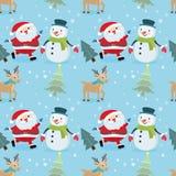Άνευ ραφής σχέδιο χιονανθρώπων και ελαφιών Άγιου Βασίλη διανυσματική απεικόνιση