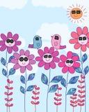 Άνευ ραφής σχέδιο χλοών ένδυσης πουλιών λουλουδιών ήλιων Στοκ Φωτογραφία