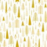 Άνευ ραφής σχέδιο Χριστουγέννων από ζωγραφισμένα στο χέρι fir-trees διανυσματική απεικόνιση