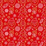 Άνευ ραφής σχέδιο Χριστουγέννων - κάλαμοι Santa και καραμελών Στοκ Εικόνα