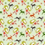 Άνευ ραφής σχέδιο Χριστουγέννων, κινούμενα σχέδια Άγιος Βασίλης απεικόνιση αποθεμάτων