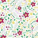 Άνευ ραφής σχέδιο Χριστουγέννων λουλουδιών, floral σχέδιο Στοκ φωτογραφία με δικαίωμα ελεύθερης χρήσης