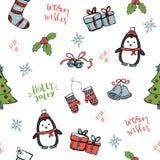 Άνευ ραφής σχέδιο Χριστουγέννων με συρμένα τα χέρι στοιχεία απεικόνιση αποθεμάτων