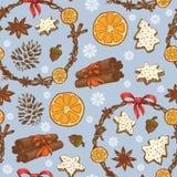 Άνευ ραφής σχέδιο Χριστουγέννων με τα εορταστικά στεφάνια, τα γλυκά και snowflakes απεικόνιση αποθεμάτων