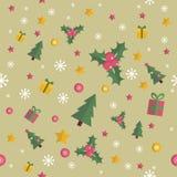 Άνευ ραφής σχέδιο Χριστουγέννων με τα επίπεδα στοιχεία ν Στοκ φωτογραφία με δικαίωμα ελεύθερης χρήσης