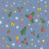 Άνευ ραφής σχέδιο Χριστουγέννων με τα επίπεδα στοιχεία Στοκ Φωτογραφία