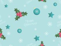 Άνευ ραφής σχέδιο Χριστουγέννων με τα επίπεδα στοιχεία Στοκ Εικόνα