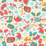 Άνευ ραφής σχέδιο Χριστουγέννων με τα στοιχεία διακοπών ελεύθερη απεικόνιση δικαιώματος
