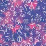 Άνευ ραφής σχέδιο Χριστουγέννων με τα σχέδια περιγράμματος σε ένα αφηρημένο υπόβαθρο watercolor Στοκ εικόνα με δικαίωμα ελεύθερης χρήσης