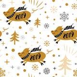 Άνευ ραφής σχέδιο Χριστουγέννων με τα χαριτωμένα snowflakes χοίρων Χριστουγέννων κινούμενων σχεδίων χρυσά μαύρα χρώματα απεικόνιση αποθεμάτων