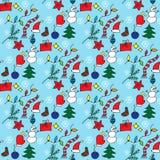 Άνευ ραφής σχέδιο Χριστουγέννων με τα hand-drawn doodles Στοκ φωτογραφία με δικαίωμα ελεύθερης χρήσης