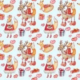 Άνευ ραφής σχέδιο Χριστουγέννων με τις αλεπούδες και τους ταράνδους σε ένα μπλε υπόβαθρο απεικόνιση αποθεμάτων