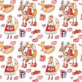 Άνευ ραφής σχέδιο Χριστουγέννων με τις αλεπούδες watercolor απεικόνιση αποθεμάτων