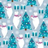 Άνευ ραφής σχέδιο Χριστουγέννων με τις πολικές αρκούδες και τα χριστουγεννιάτικα δέντρα απεικόνιση αποθεμάτων