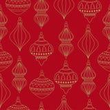 Άνευ ραφής σχέδιο Χριστουγέννων με τις σφαίρες Christms διανυσματική απεικόνιση