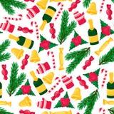 Άνευ ραφής σχέδιο Χριστουγέννων με το ζωηρόχρωμο αντικείμενο νέο έτος στοιχείων σχεδί&omicron Στοκ φωτογραφίες με δικαίωμα ελεύθερης χρήσης